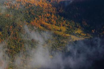 北横岳から俯瞰する天祥寺原(10月28日撮影) Photo by Kenji Shimadate