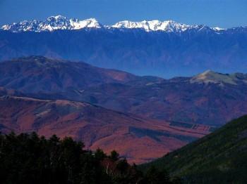 霧ヶ峰の彼方に冠雪した北アルプスの山々