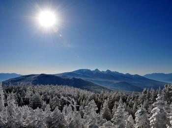 輝く太陽と八ヶ岳 12月28日撮影
