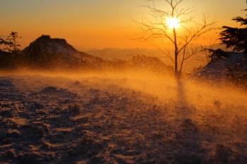 地吹雪の朝(3月11日撮影)