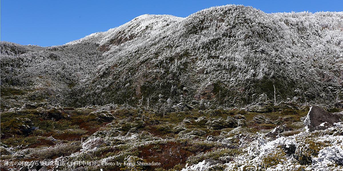 薄雪の坪庭から望む北横岳