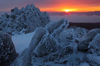 三ツ岳の岩氷と朝陽(2月18日撮影) Photo by Kenji Shimadate