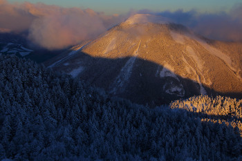朝陽を受ける蓼科山(2月7日撮影) Photo by Kenji Shimadate