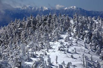 北峰からの南峰と南アルプス(3月23日撮影) Photo by Kenji Shimadate