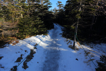 ヒュッテ付近の氷の登山道(12月12日撮影) Photo by Kenji Shimadate