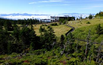 坪庭から望む山頂駅