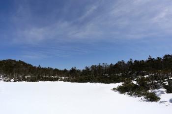 雪原の七ツ池(4月18日撮影) Photo by Kenji Shimadate