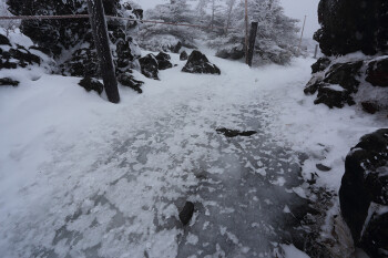 氷化した登山道(2月18日、坪庭) Photo by Kenji Shimadate